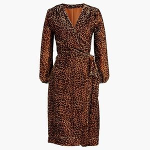 J. Crew Drapey Velvet Blush Leopard Wrap Dress